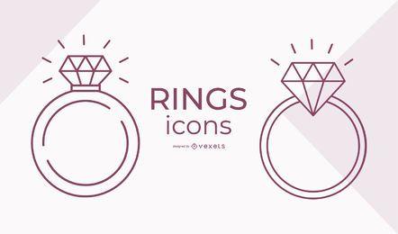 Conjunto de iconos de anillo de trazo