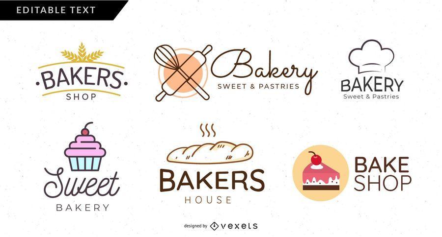 Conjunto de logotipo de padaria