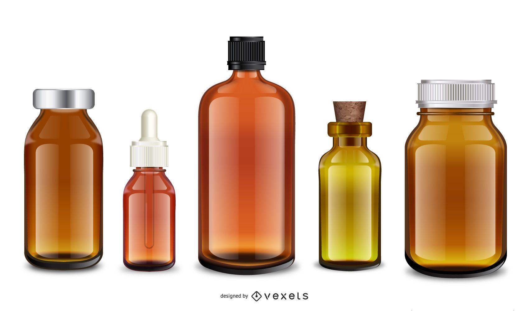 Conjunto de frascos médicos