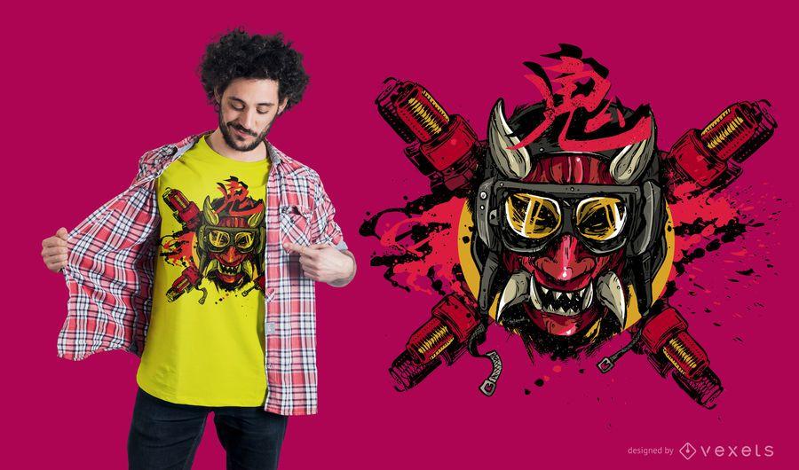 Projeto do t-shirt do demónio do motor