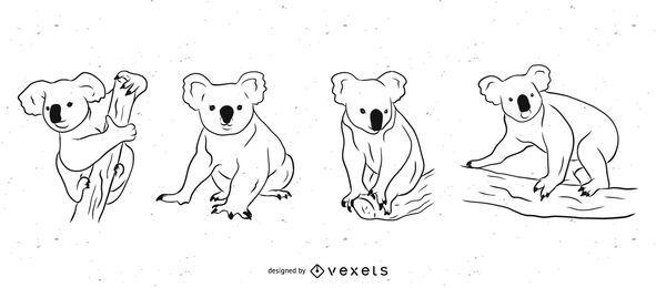 Conjunto de ilustración en blanco y negro de oso koala