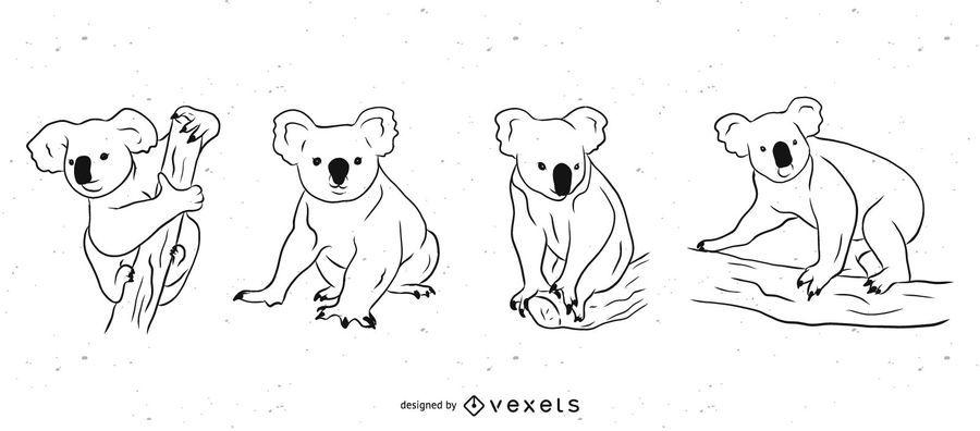 Conjunto de ilustração preto e branco de urso coala