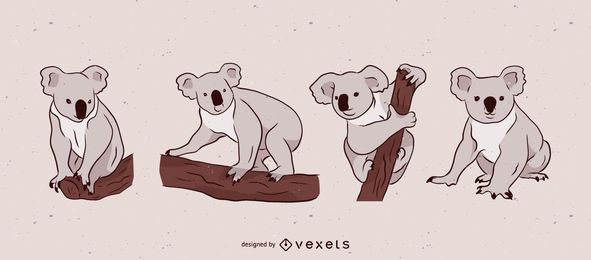 Grey Koala Bear Illustration Set