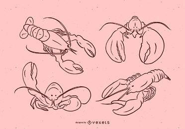 Conjunto de ilustração vetorial Loster Stroke