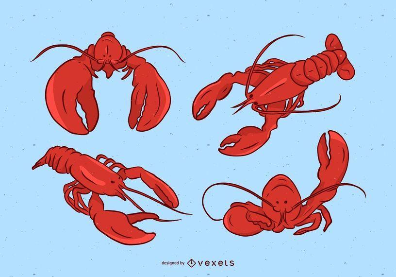 Conjunto de ilustración de langosta