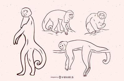 Diseño de ilustración en blanco y negro de mono