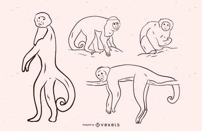 Monkey Black and White Illustration Design