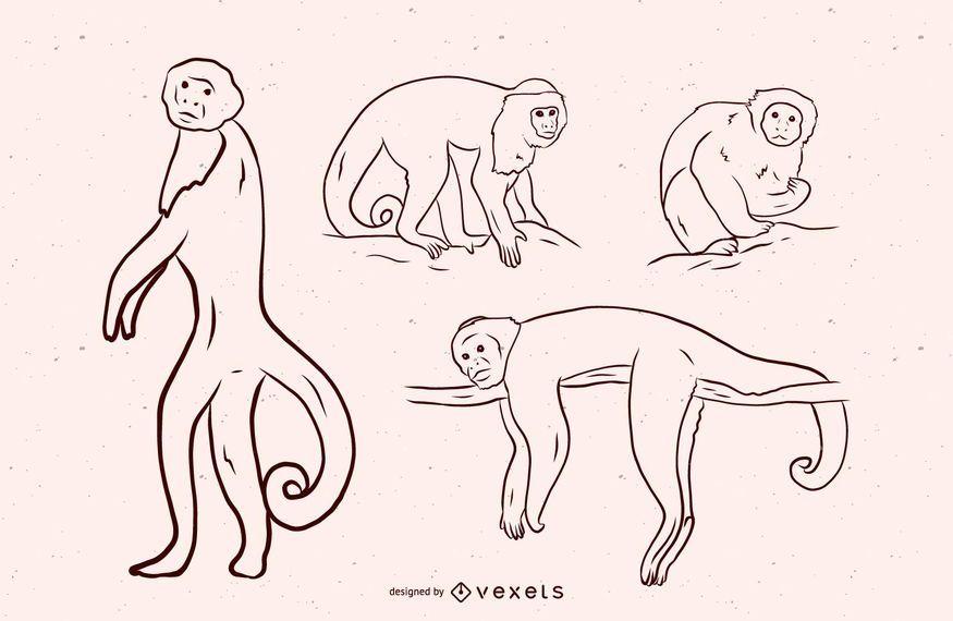 Projeto de ilustração preto e branco de macaco