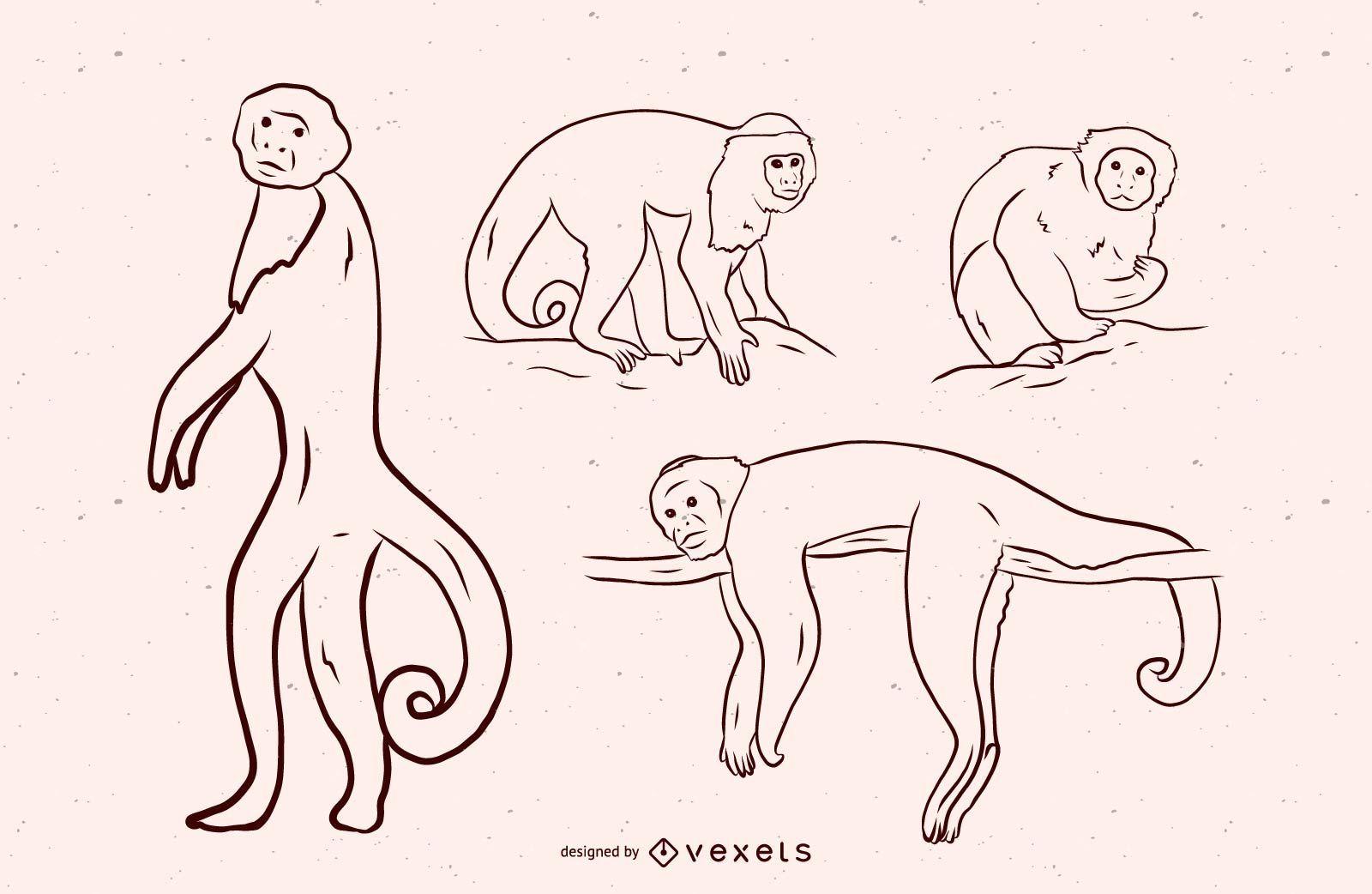 Monkey Black and White Illustration Design
