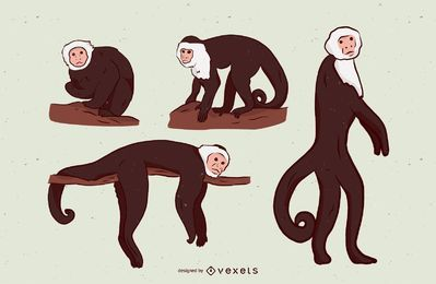 Monkey Illustration Set Design