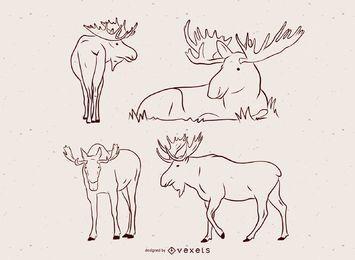 Conjunto de ilustración vectorial de alces