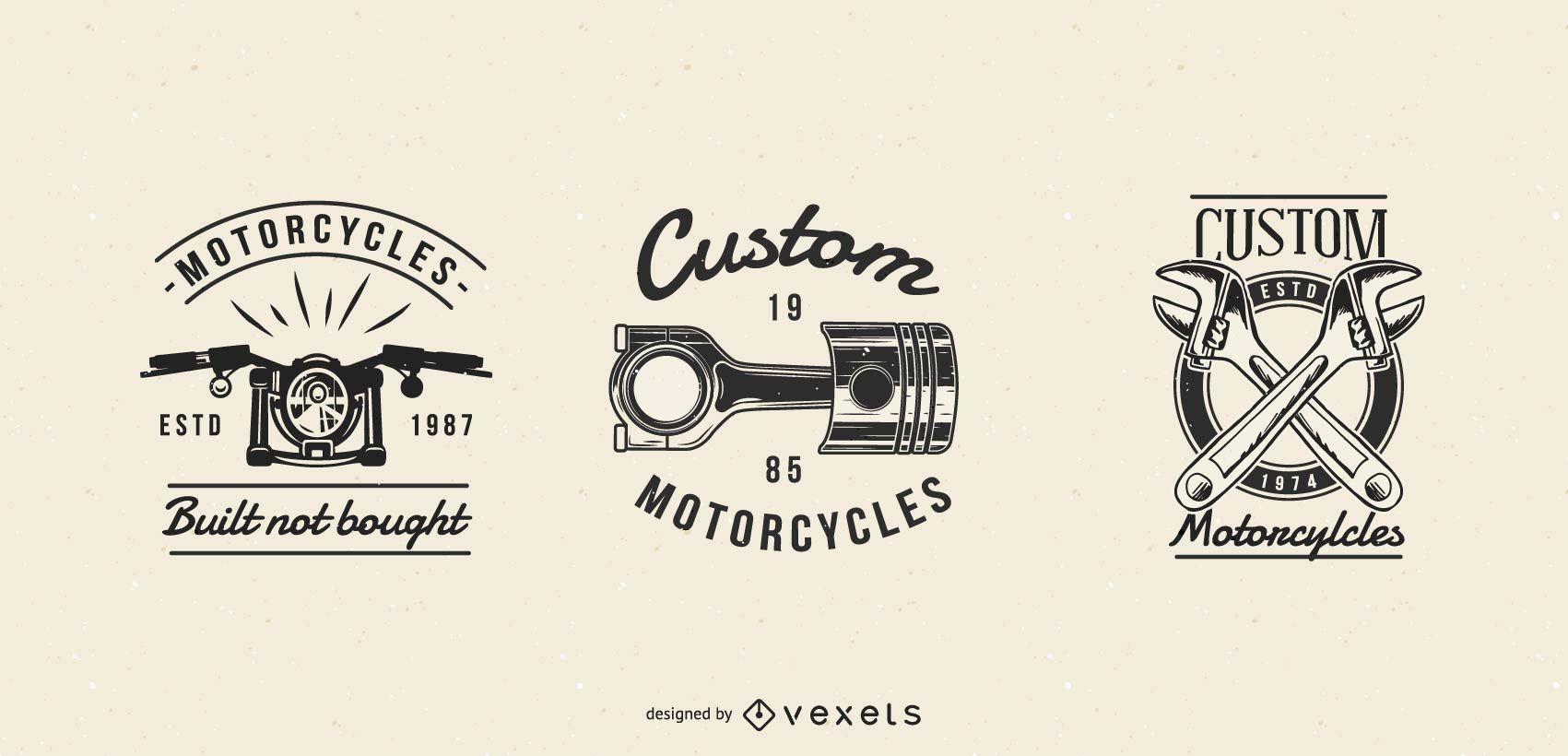 Conjunto de insignias de motocicleta vintage