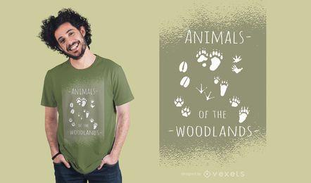 Diseño de camiseta de animales del bosque