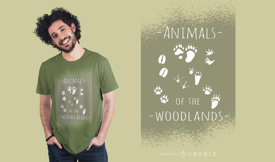 Projeto do t-shirt dos animais da floresta
