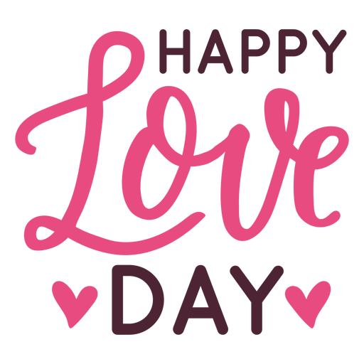 Happy love day message design Transparent PNG