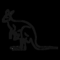 Boceto canguro y joey