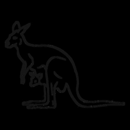 Bosquejo de canguro y joey