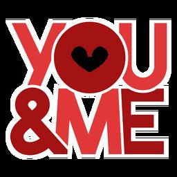 Design de mensagem você e eu para os namorados