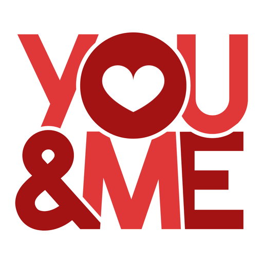 You & me valentine message design Transparent PNG