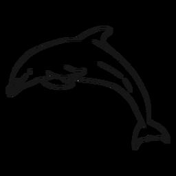Golfinho, mergulhar, em, esboço