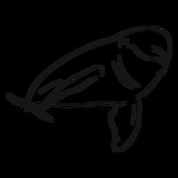 Boceto de cuerpo completo con delfines.