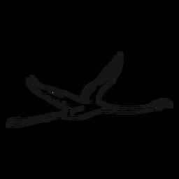 Fliegende Flamingoskizzenillustration