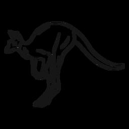 Ilustración de esbozo de canguro saltando