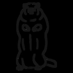 Vector de boceto de la marmota de pie
