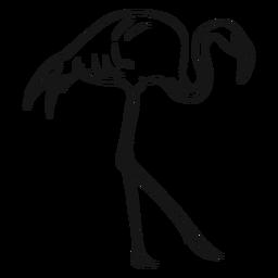 Esboço de flamingo andando alto