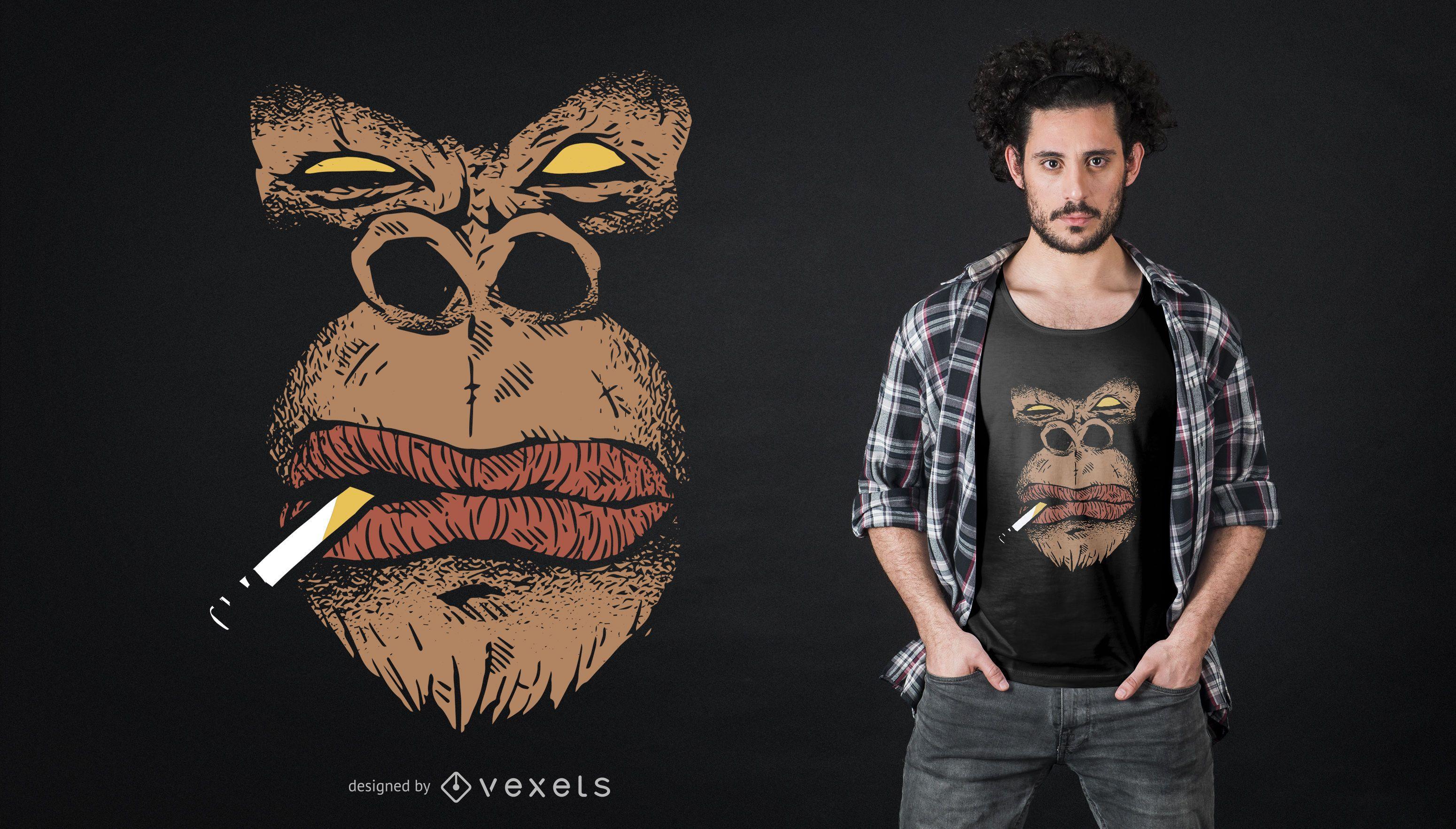 Diseño de camiseta de gorila enojado