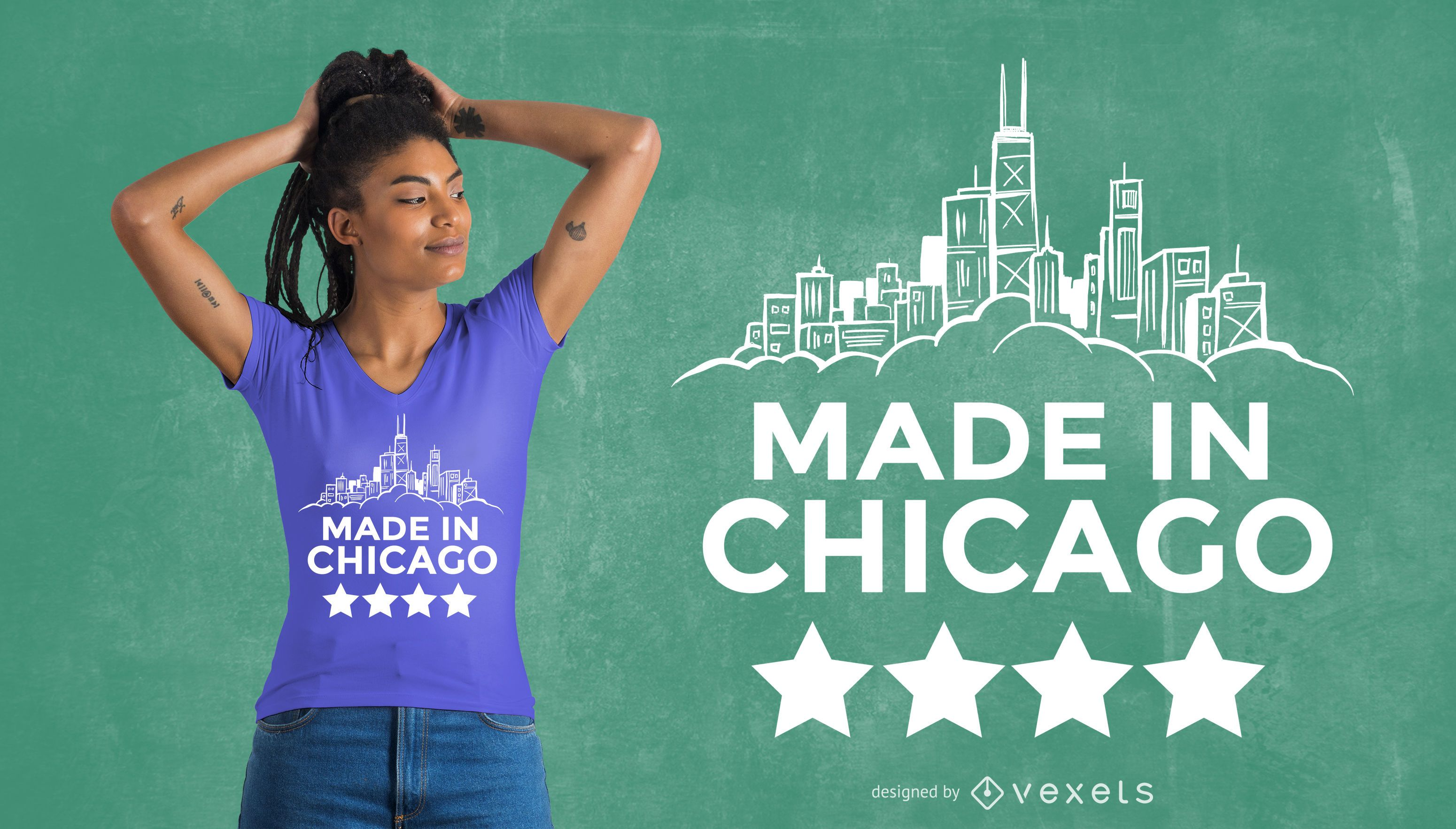 Hecho en diseño de camiseta de Chicago