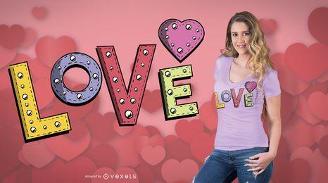 Diseño de camiseta de amor cosido