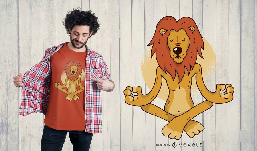 Diseño de camiseta de yoga león