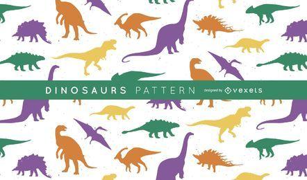 Patrón de silueta de dinosaurios