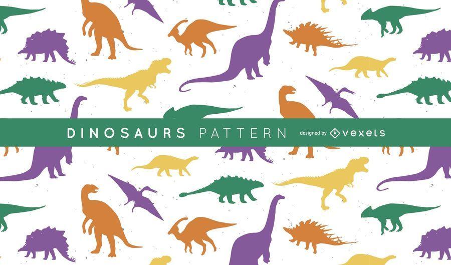 Dinosaurs silhouette pattern