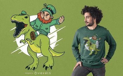 Diseño de camiseta Leprechaun Dino