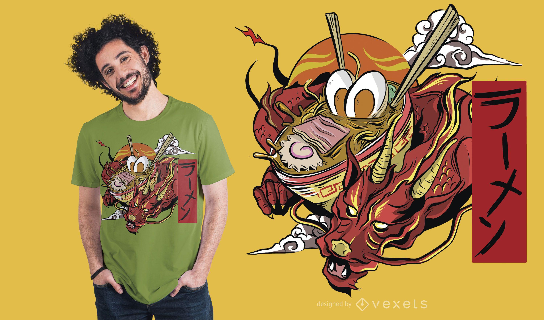 Diseño de camiseta Ramen Dragon