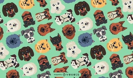 Dog heads seamless pattern