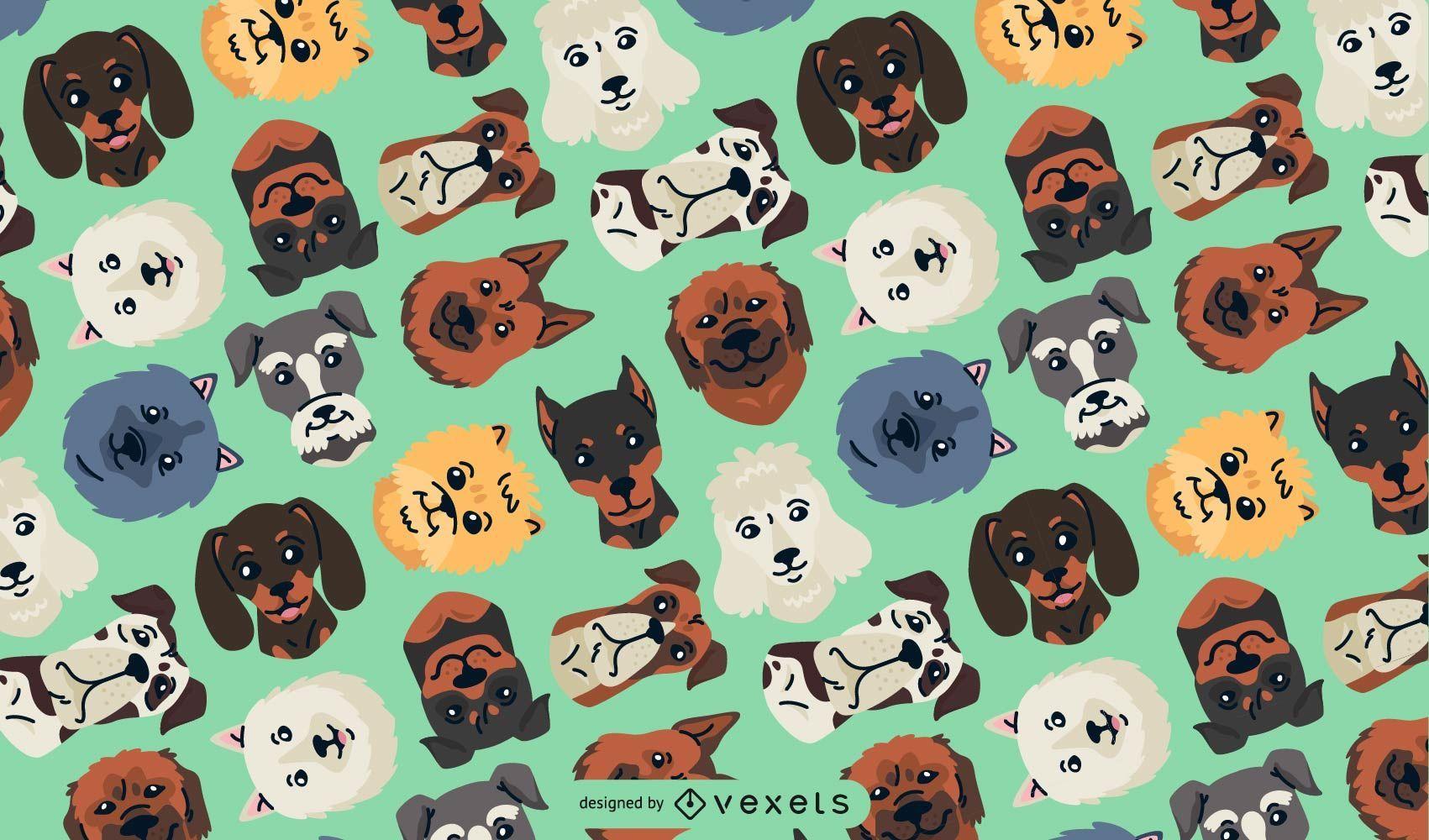 Dog heads seamless pattern