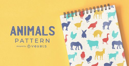 Diseño de patrón de animales de granja
