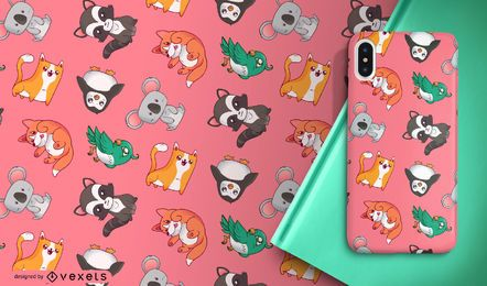 Cute cartoon animals pattern