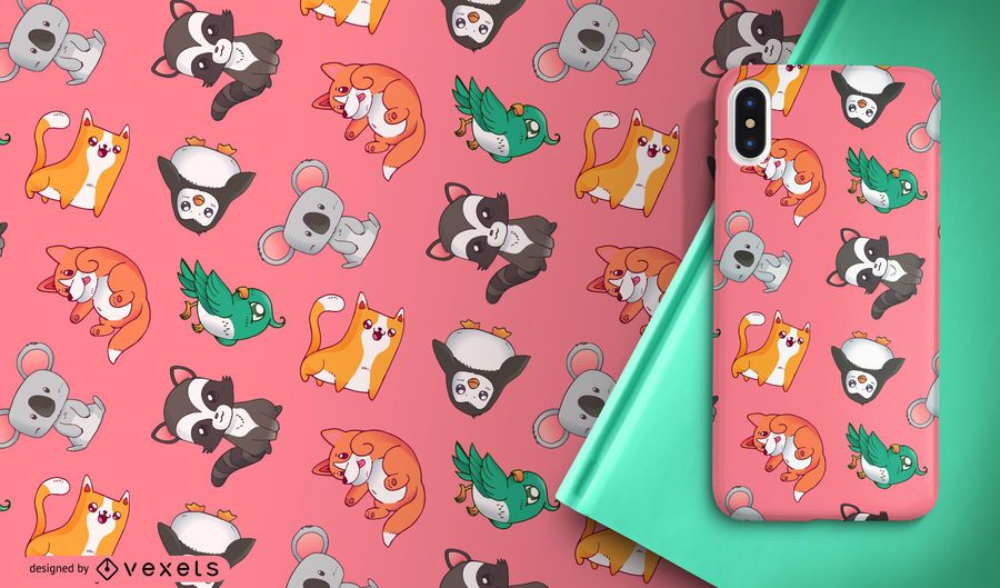 Cute cartoon animals pattern
