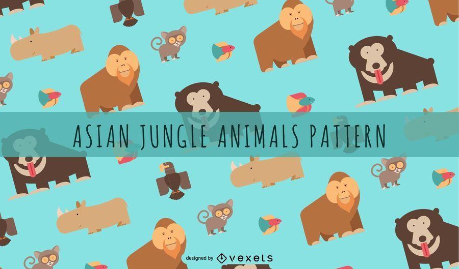 Patrón de animales de la selva asiática
