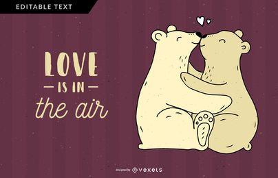 O amor do urso está na ilustração do ar