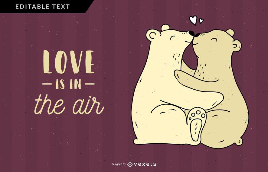 El amor del oso está en la ilustración del aire