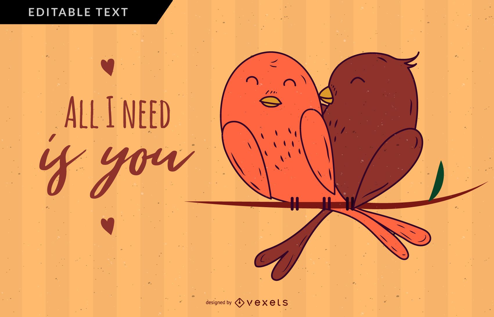 All I Need Is You Valentines Illustration