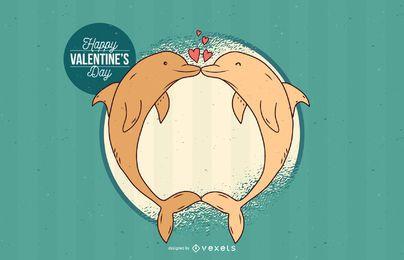 Süße Delphin Valentines Grüße