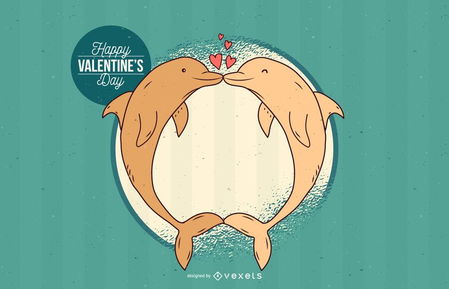 Cumprimentos doces dos namorados do golfinho