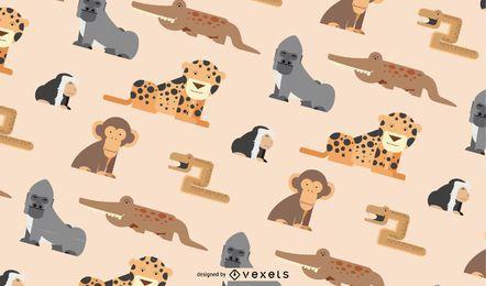 Patrón de animales de la selva africana