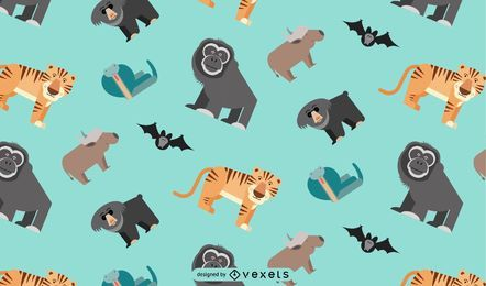 Asian jungle animals pattern design
